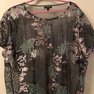 Lane Bryant sheer embroidered top